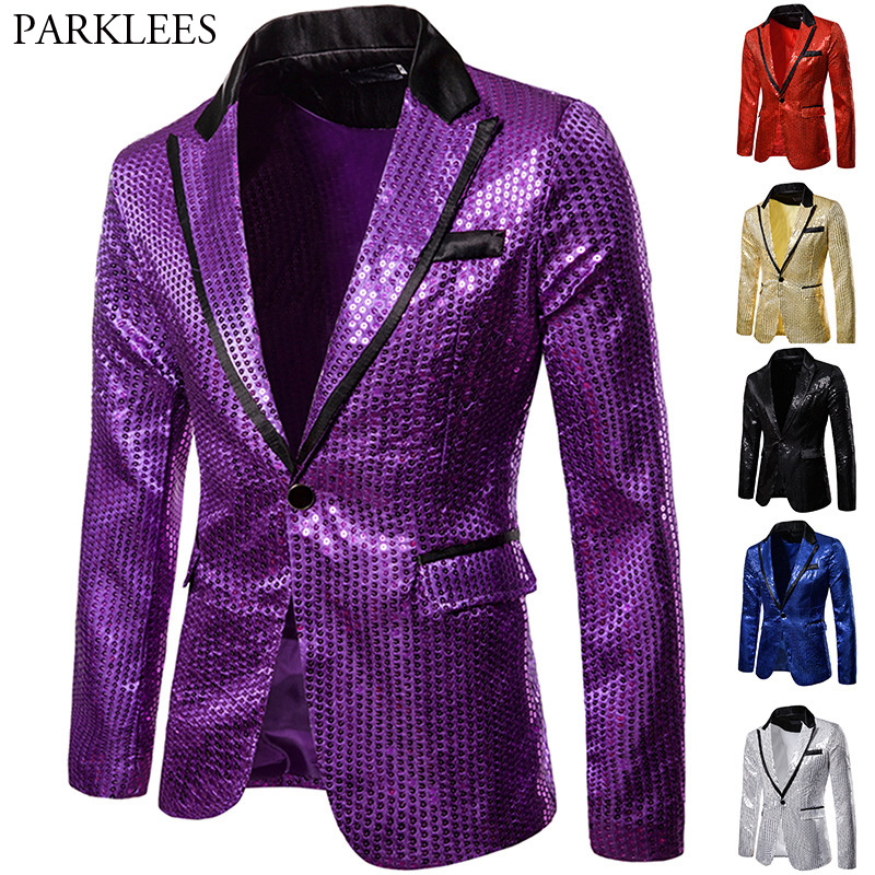 Shiny Purple Sequin Glitter Blazer Men Jacket Nightclub Prom Blazers Mens DJ Stage Clothes For Singers Rock And Roll Costumes