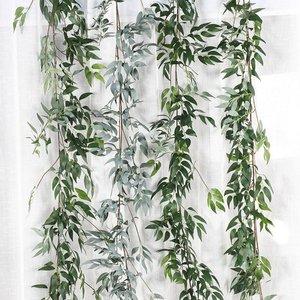 Image 2 - Diy Zijde Opknoping Eucalyptus Garland Wedding Party Simulatie Rieten Bladeren Wijnstok Decoraties