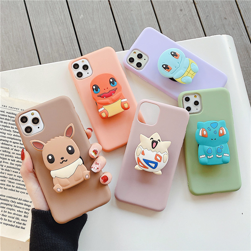 Cartoon 3D Elf Ball Holder Stand Case For Huawei P Smart 2020 P40 Lite E P30 Pro P20 P10 P9 P8 Lite 2017 Star Soft Phone Cover