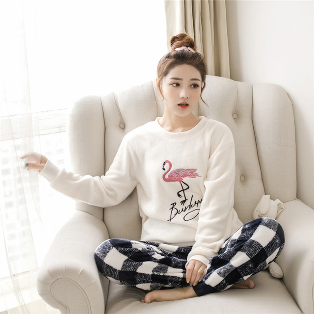 QWEEK Sleepwear Women Pajamas Sets Winter Warm Ladies Pyjamas Round Neck Pijamas Mujer Women Thick New Home Clothes Dropshipping