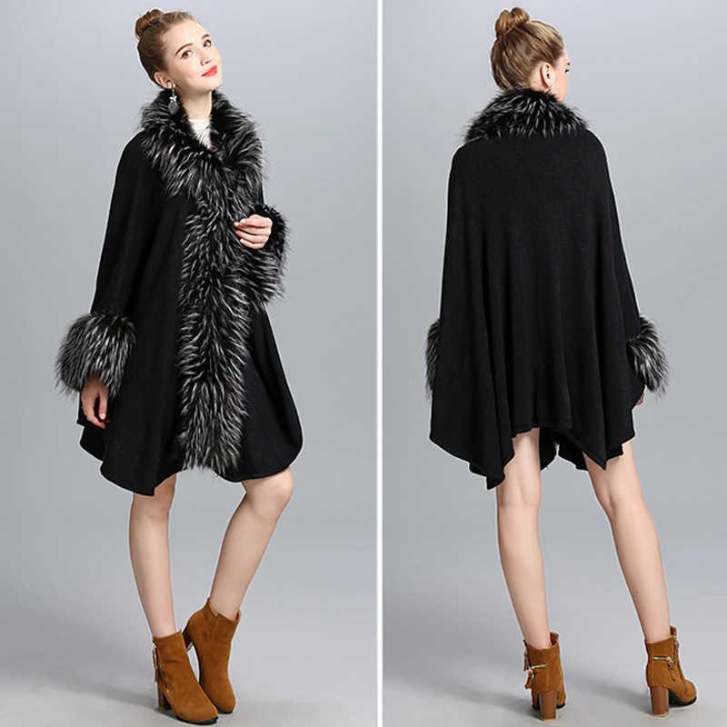 Moda lüks yaka sahte devekuşu kürk pelerin uzun kadın örgü kaşmir pelerin şal hırka EuropeStyle güz kış yeni