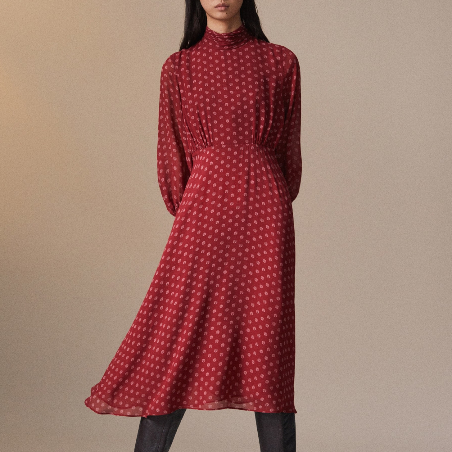 2019 Korean Commute Print Winter Dress Stand Collar Empire Draped A-Line Mid-Calf Long Sleeve Elegant Red Party Dress Women