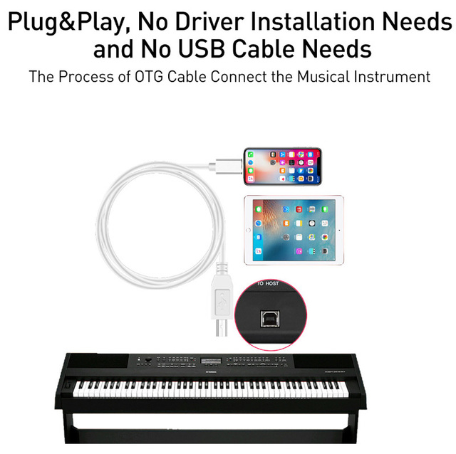 IOS13 Charge Cable For iPad MIDI USB OTG Type B Keyboard Adapter For IPhone 11 X XS MAX XR 8 7 6 Electric Piano Audio Connector