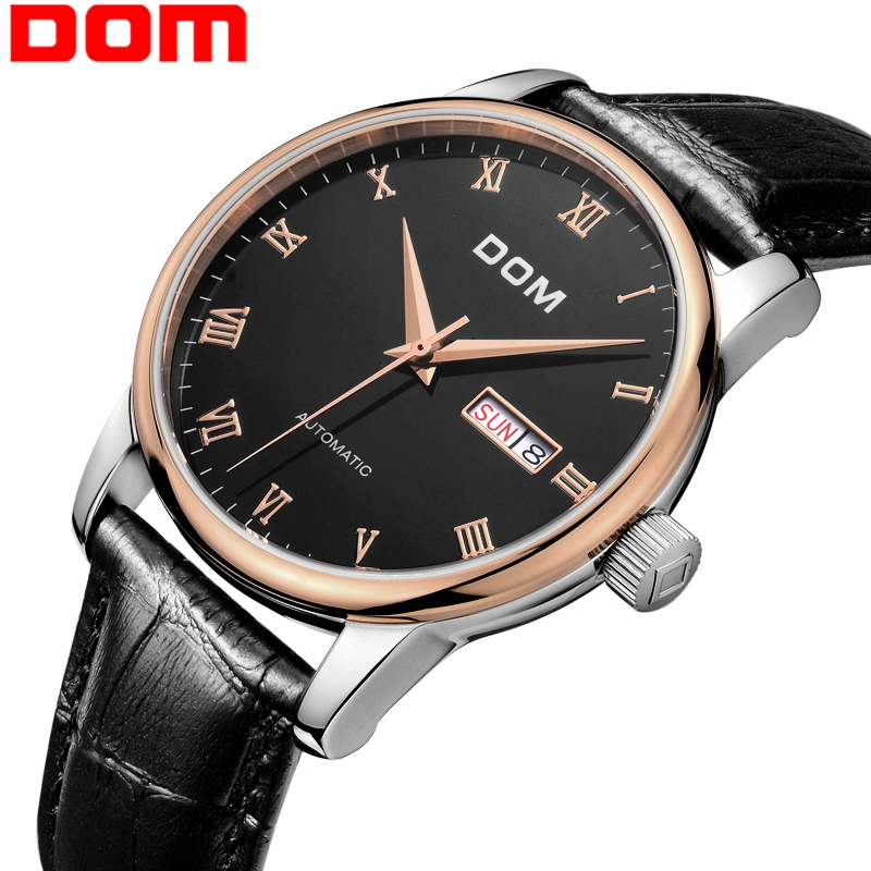 DOM mens watches top brand luxury waterproof mechanical leahter watch Business men watch clock relogio masculino M-57GL-1M