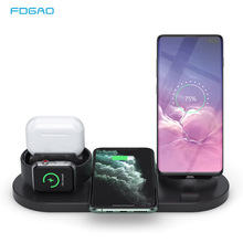 10W Qi Wireless Charger Dock Station 6 in 1 For iPhone Airpods Micro USB Type C Stand Fast Charging 3.0 For Apple Watch Charger