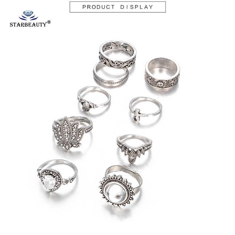 Lotus Joint แหวน 9 ชิ้น/ล็อต Crown Fingers แหวน Knuckle แหวนชุดแหวนคริสตัลปาร์ตี้ชุด Midi Toe แหวนสำหรับเครื่องประดับสตรี