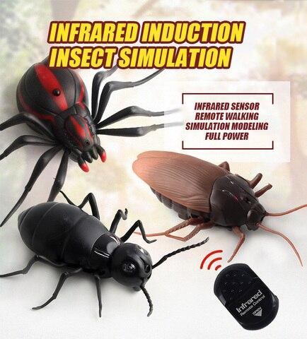 spoof piada alta simulacao de controle remoto infravermelho inseto modelo barata aranha formiga brinquedo animal