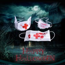 Berdarah Nurse Kit Halloween Kostum Aksesori Cosplay Props Fancy Dress Up Set Masker Headpiece dan Penutup Mata(China)