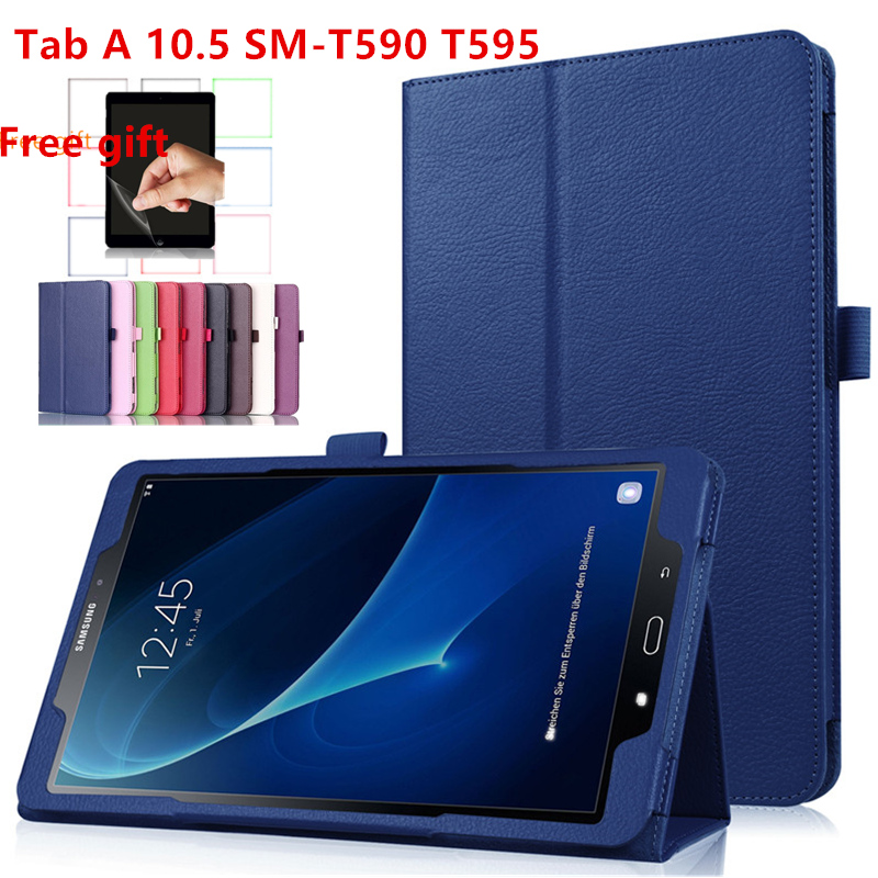 Tablet Case For Samsung Galaxy Tab A 10.5 T590 T595 SM-T590 2018 Cover Leather Folding Stand Flip Smart Cover Taba 10.5Inch+Film