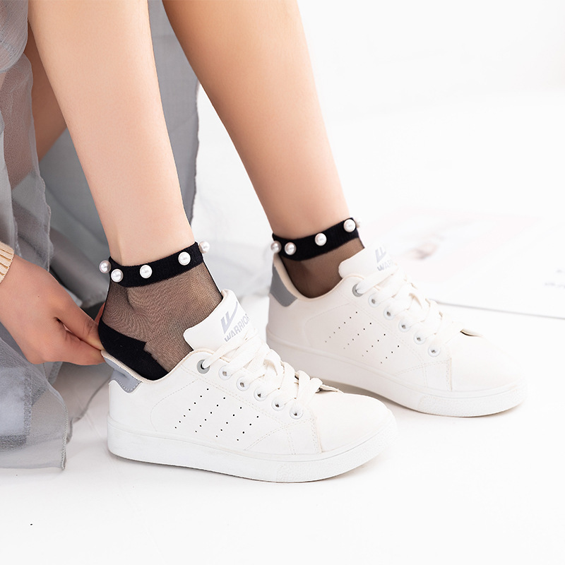 2020 High Quality Summer Stylish Trendy Fashion Modern Woman Girl Glitter Shiny Pearl Socks Mesh Thin Bead Gauze Transparent Sox