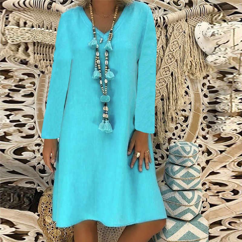Vrouwen Lente Herfst Jurk Plue Size Lady Losse Solid Lange Mouwen V-hals Katoen Linnen Jurk Fashion Casual A-lijn Jurk Femme juli
