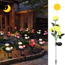 Уличные реалистичные розы на солнечной батарее, 3 головки/5 головки, водонепроницаемый цветочный колышек для сада, патио, двора, украшение дл...