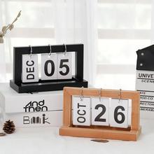DIY Деревянные винтажные календари кафе настольные деревенские декоративные украшения деревенский Декор домашний офис деревянный календарь