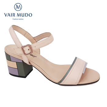 VAIR MUDO Women Sandals Shoes Elegant Sheepskin Thick Heel Ankle Strap Spring Summer Lady Women Shoes Sexy apricot Footwear LX23
