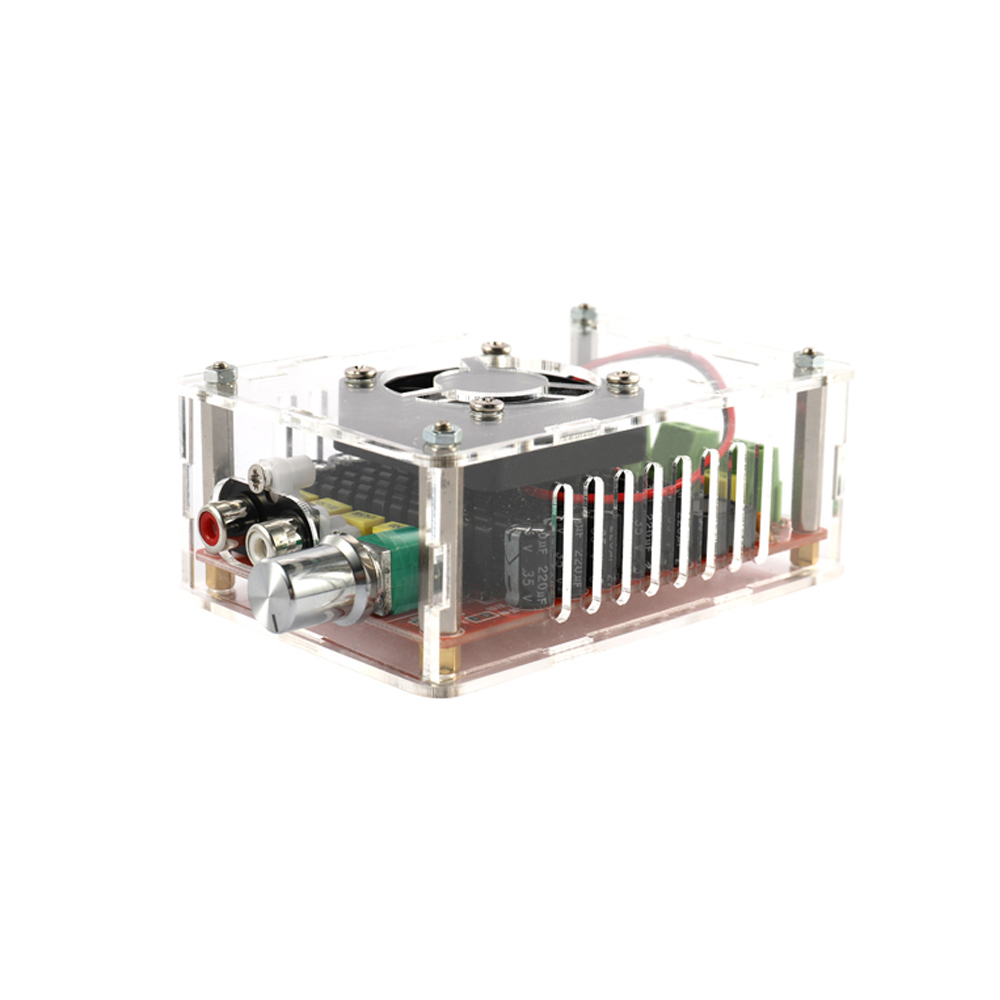 TDA7498 2*100W Car Digital Power Amplifier Board Dual Audio with Acrylic Case and Air Fan|Tool Parts| |  - title=