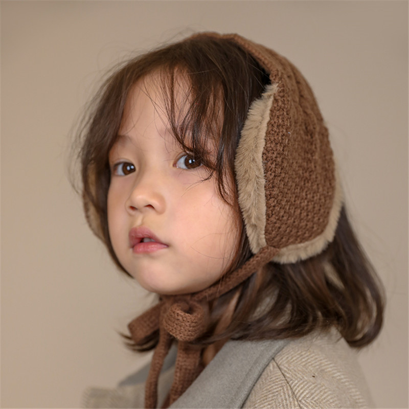 Autumn Winter Kids Vintage Wool Ear Covers Cute Tie Warm Knit Girls Head Wear Accessories Solid Color With Ball Earmuffs AD0914