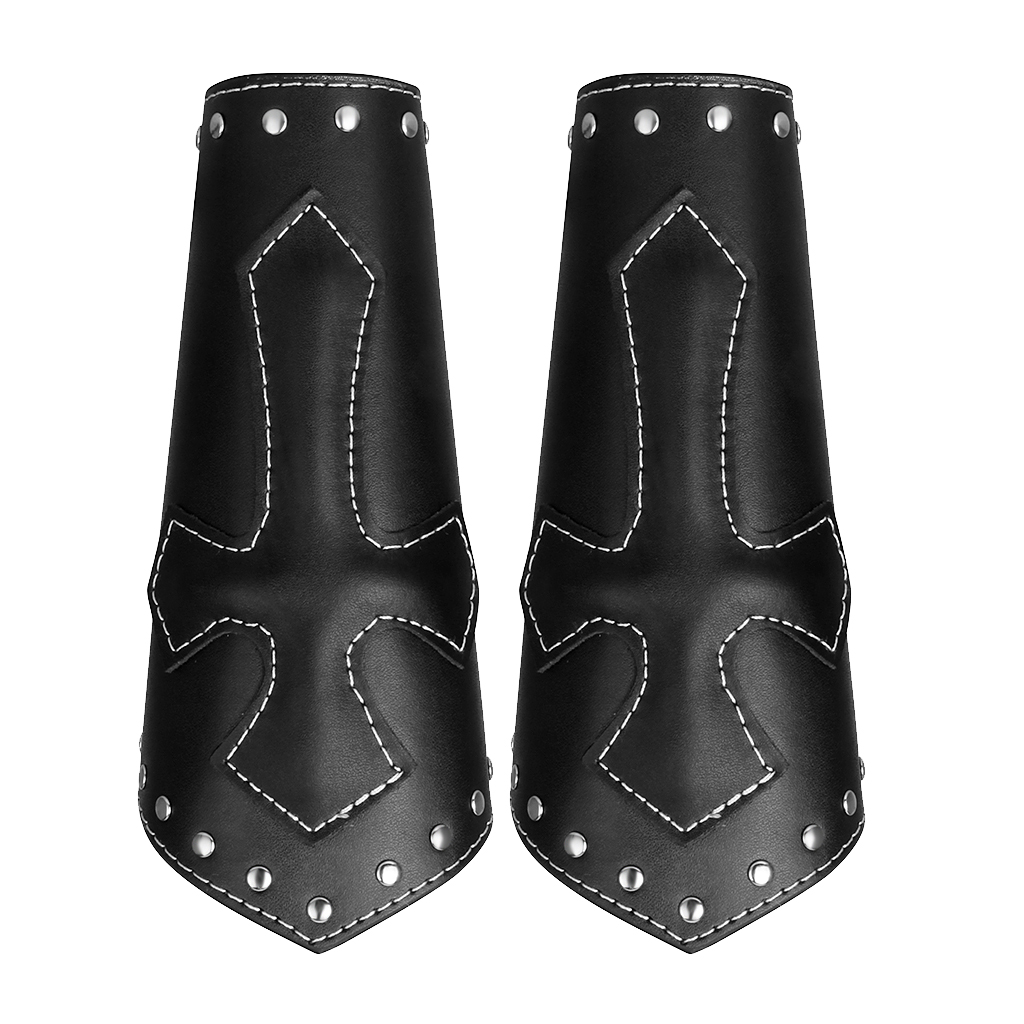 2pieces Vintage Pu Leather Arm Armor Arm Guard Medieval Knight Bracer Adjustable Wrist Band Steampunk Armor Wide Cuffs Bracers