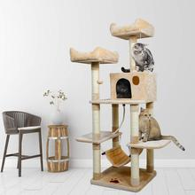 Cat Tree Scratching Posts Toy Room and Hammock Frame Furniture House Condo Hanging Woobies Two Platforms C04