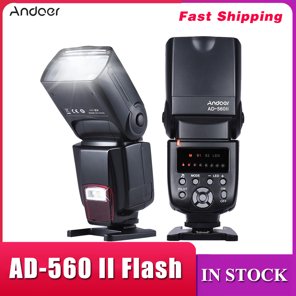 Andoer AD-560 II Flash Speedlite With Adjustable LED Fill Light Universal Camera Flash for Canon Nikon Olympus Pentax DSLRs