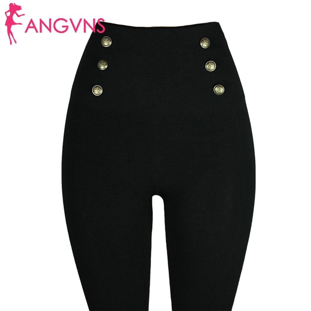 Trousers Leggings Women Gem-Button Zipper-Pants Stretch High-Waist New-Fashion Elastic