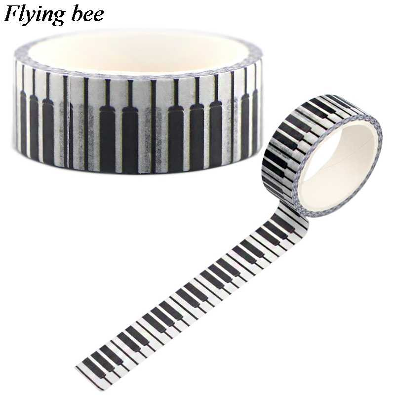 Flyingbee 15 Mm X 5 M Kertas Washi Tape Piano Keyboard Kreatif Adhesive Tape Diy Scrapbooking Stiker Label Masking Tape x0552