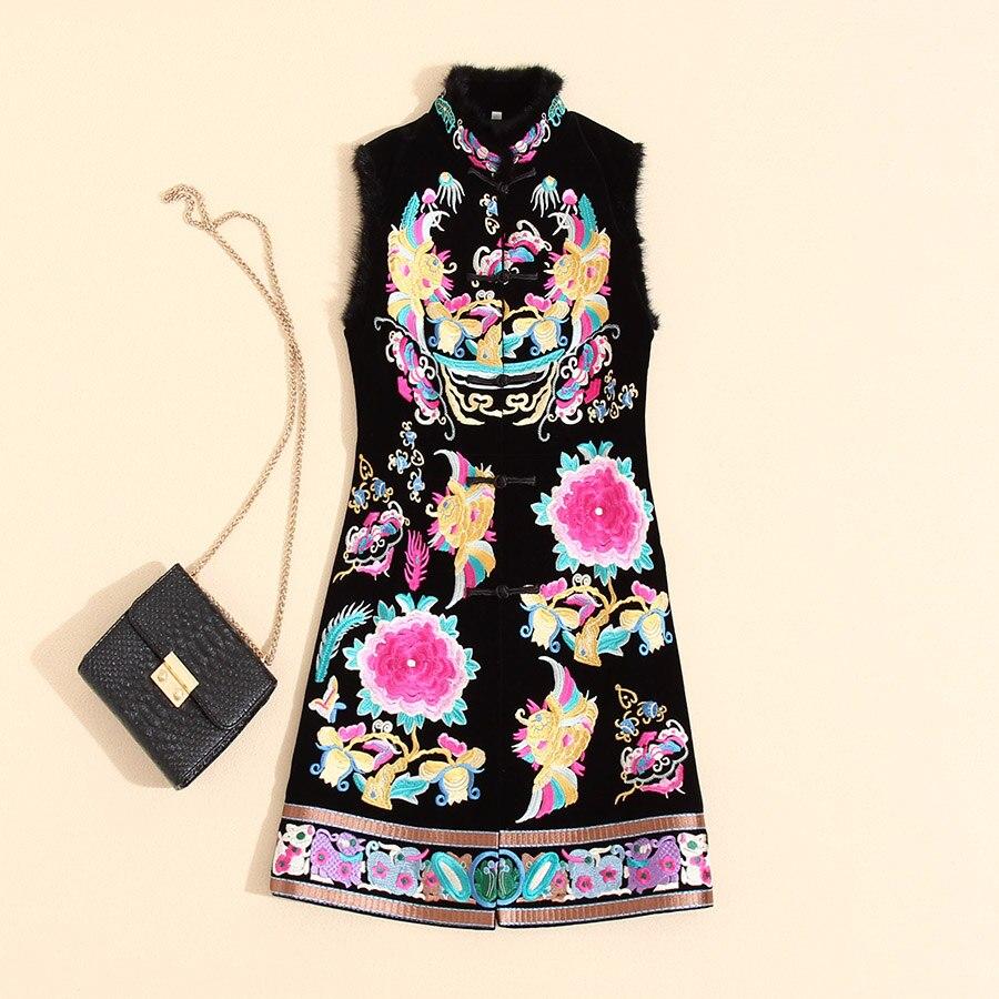 Autumn Winter Retro Women Sleeveless Dress Vintage Embroidery Chinese Style  Plus Size Elegant Lady Loose Velvet Dress S- 3XL