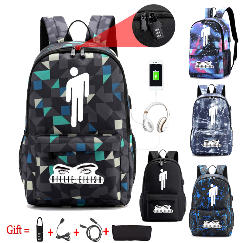 New Pop Singer Billie Eilish Backpack For Teenage Boys Girls Luminous School Bag USB Charging Anti Theft Waterproof Travel Bag