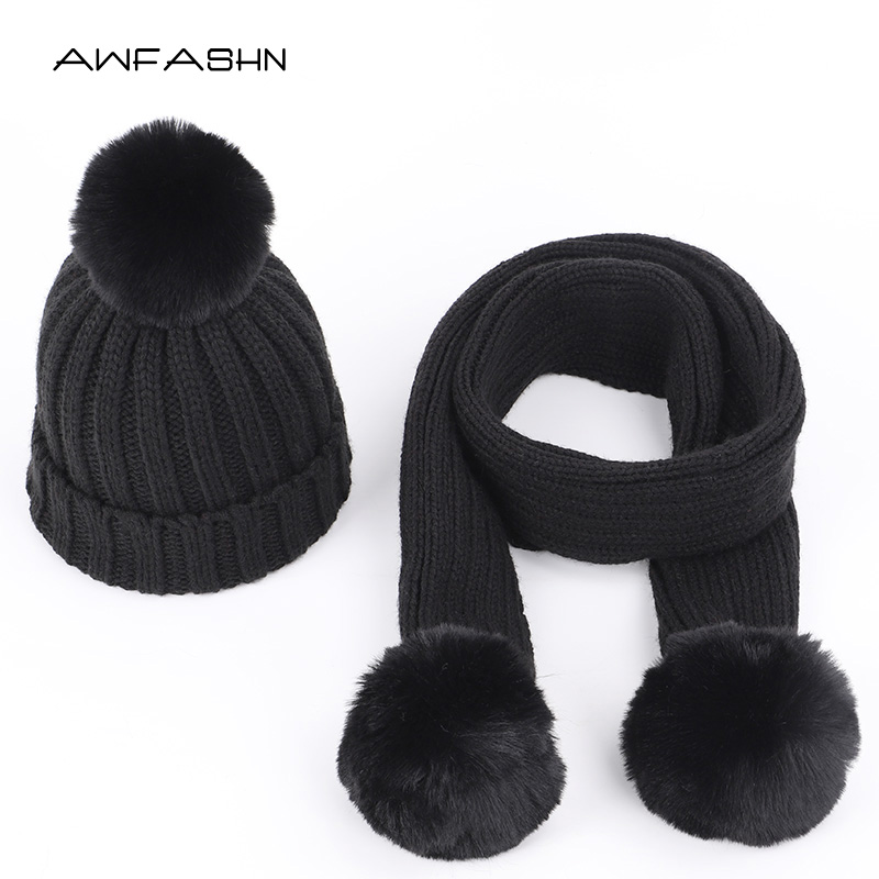 2019 New Fashion Children's Knit Beanies Hat Scarf 2 Pieces Set  Kids Winter Boy Girl Soft Cap Scarves Solid Color Pompom Baby