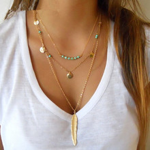 цена на 2016 New Boho Simple Chain Turquoise Beads Glaze Necklaces Leaf 3 Layer Necklace Feather Pendant Multilayer Necklaces For Women