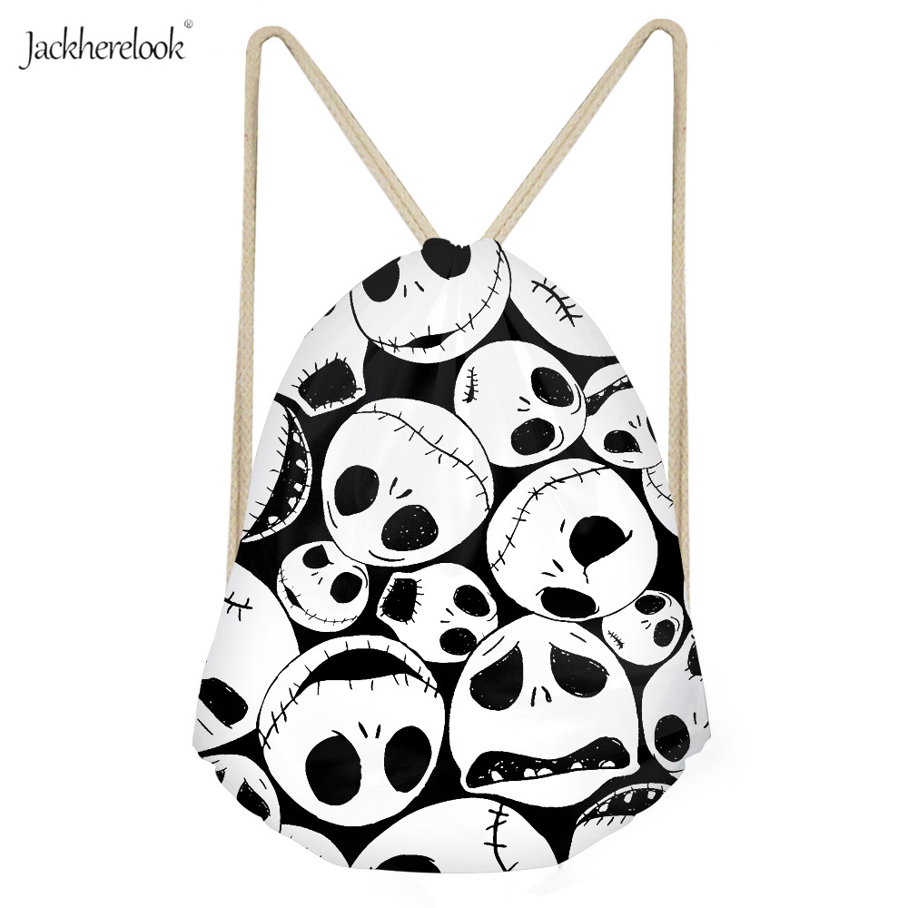 Jackherelook The Nightmare Before Christmas Drawstring Bag For Boy Girls Cartoon Travel Storage Pack String Backpack Pouch Sack