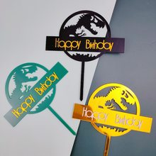 New Dinosaur happy Birthday Cake Toppers Golden Acrylic Cupcake topper Dessert decoration For Baby shower Party Cake Decorations