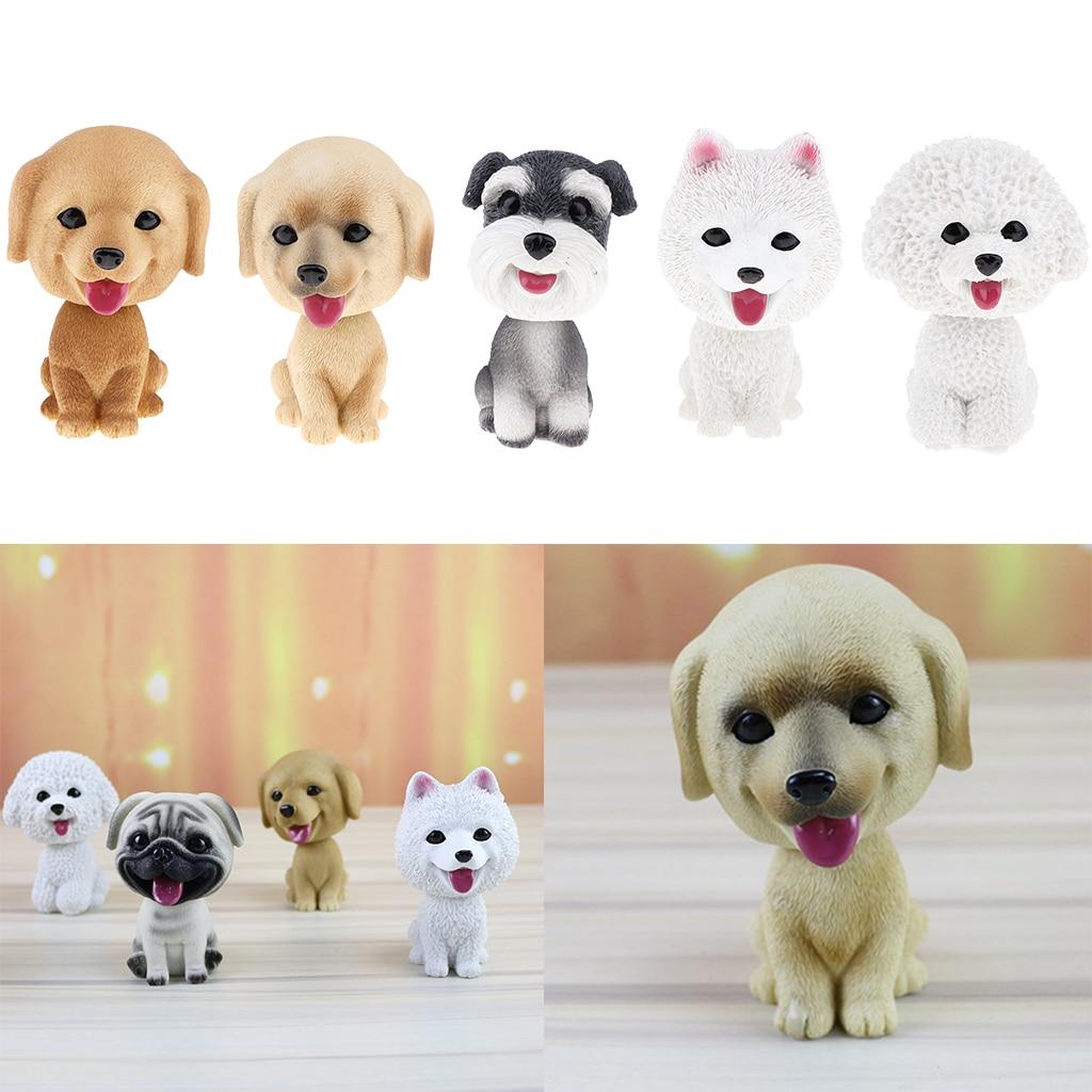 Adorable Resin Bobblehead Puppy Dog Figurine Car Dashboard Decoration Nodding Shaking Head Kids Toy For Home Desk