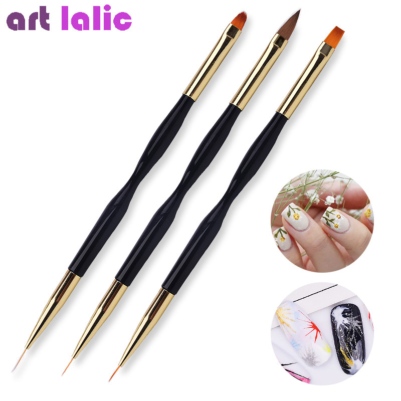 New 1Pc Double End Nail Brush Painting Drawing Lines Pen 3D Tips DIY UV Gel Flowers Design Nail Art Books Salon Manicure Tools