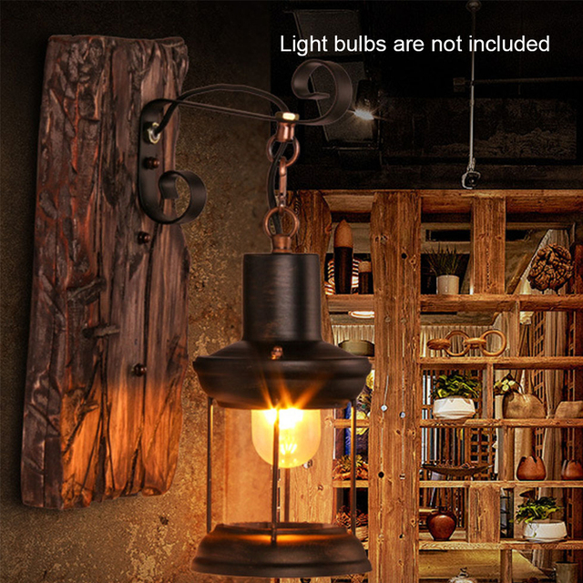 Wandlamp Indoor Home Decor Industriële Led Wandl Gang Vintage Hotel Natuur Hout Licht 6