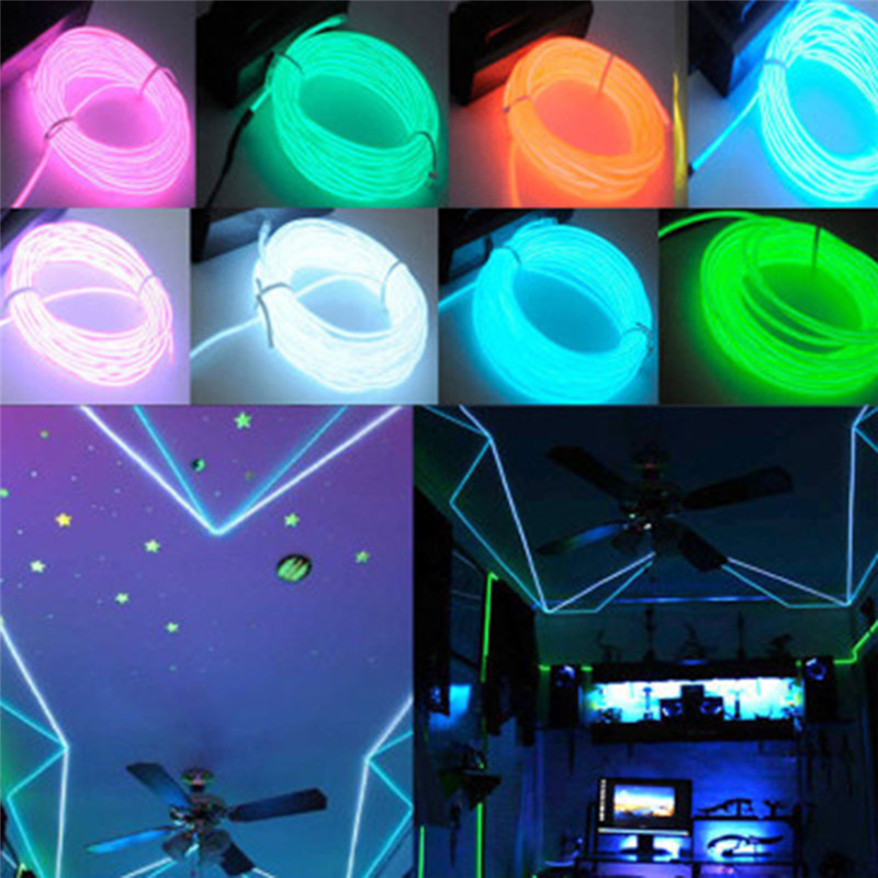 SNEWVIE NEW Colorful Strip Light Car Styling Cold Line Flexible Neon Light Glow EL Wire Rope Car Interior Decoration 113cm-1pcs