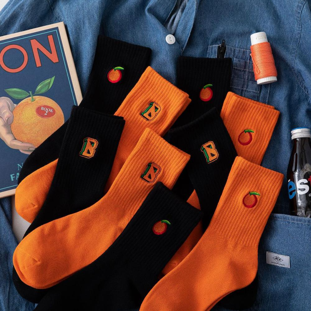 Autumn And Winter Korean Socks Women Cotton Orange Socks Embroidered Alphabet Socks Men Tide Socks Happy Funny Socks