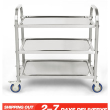 Pan Restaurant Trolley Collection Trush-Storage Hotel Stainless-Steel 3-Tier Wheels Bowl-Plate