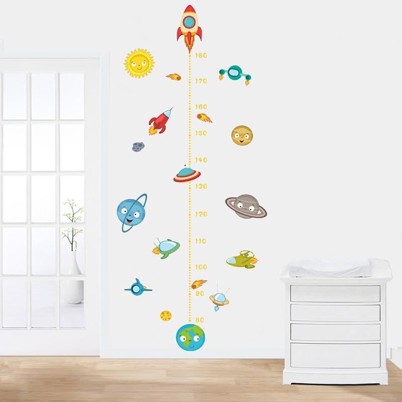 Dessin animé fusée hauteur mesure Stickers muraux enfants chambres espace extérieur ciel décalcomanies croissance graphique Mural décor Art Mural cadeau d'anniversaire
