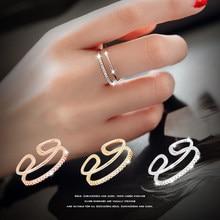 Anéis coreanos de estrela, cor prata, camada, cristal, para mulheres, anéis de noivado, vintage, meninas, joias abertas