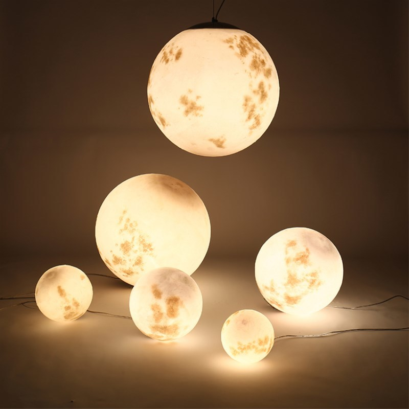 Nordic Simple Full Moon Pendant Lamp Creative Retro Personality Art Ball Moon Lanyard Hanging Lamp Moon Droplight