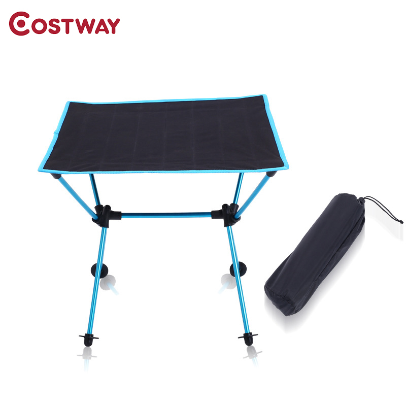 COSTWAY 600D Oxford Outdoor Ultra light Aluminum Alloy Portable Folding Table Picnic Table  Camping Barbecue Square Table W0207-in Outdoor Tables from Furniture