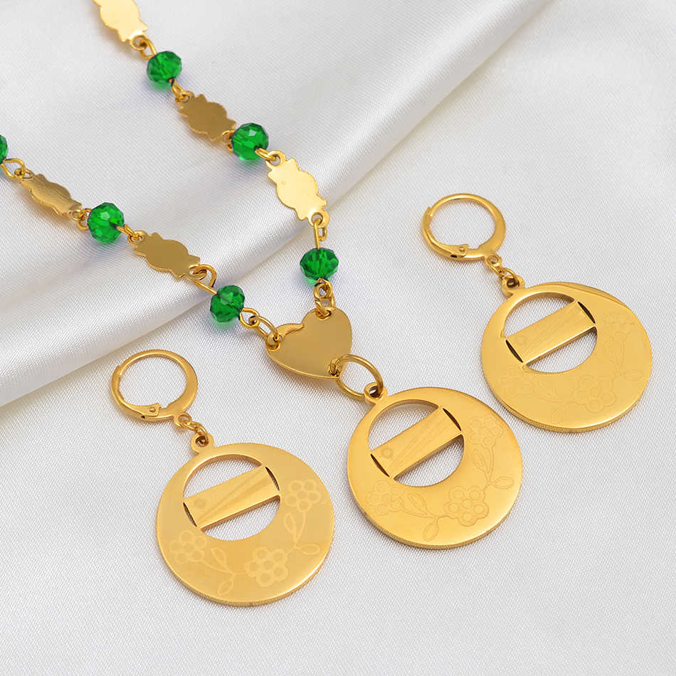 Anniyo Marshall Islands Flag Pendant Colored Beads Necklaces Earrings Jewelry sets Gold Color Trendy Ball Jewellery #127906