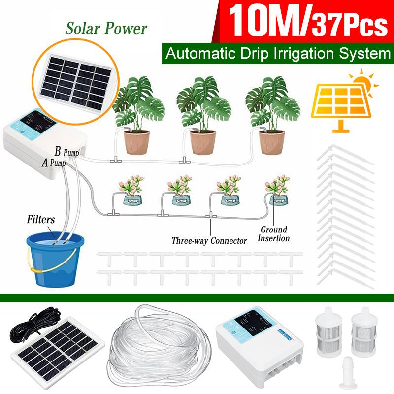 Intelligent 10M Dual Pump Solar Charging Drip Irrigation System Automatic Watering Garden Hose Micro Drip Watering Timer Kits