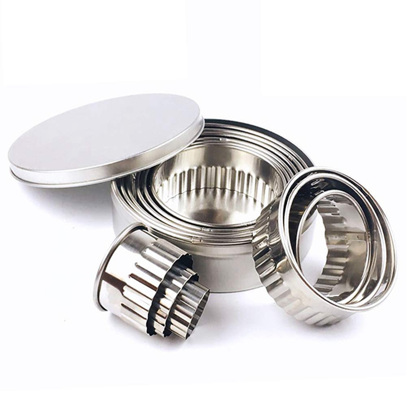 Stainless Steel Fluted Edge Round Cookie Biscuit Cutter Set 12 Pieces Graduated Ring Sizes ABUX|Waffle Molds| |  - title=