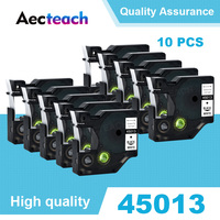 Aecteach 10pcs 12mm 호환 dymo d1 라벨 프린터 리본 테이프 45013 45010 dymo 라벨 메이커 labelmanager 160 280 260