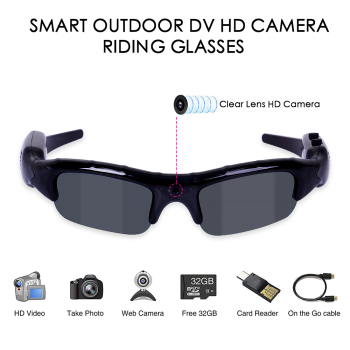 UV400 Cycling Sunglasses 3 in 1 Digital Camera Cycling Eyewear Men HD Glasses Eyewear Fishing DVR Video Recorder Outdoor Sports