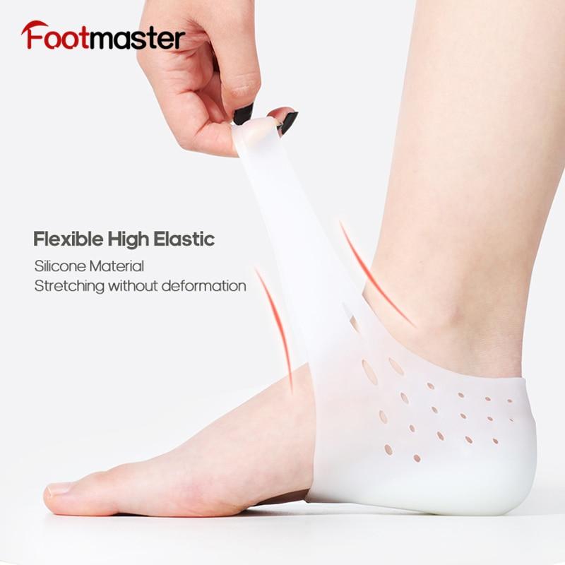 Footmaster invisível aumento de altura meias mulheres homens calcanhar almofadas silicone gel elevador palmilhas no joelho rachado dor calcanhar spur almofada