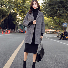 Woolen Coat Wear Tartan Female Korean-Version Long-Section Autumn Winter Fashion Women