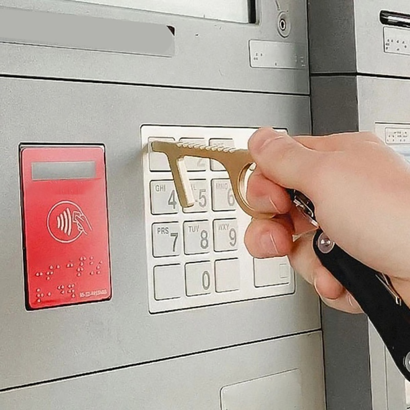 No Touch Key EDC Door Handle Portable Press Elevator Tool Hygiene Hand Antimicrobial Alloy Door Opener Door Handle Key Metal