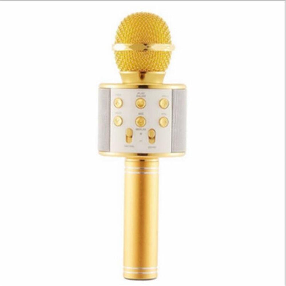 WS 858, беспроводной микрофон, профессиональный конденсаторный микрофон для караоке, bluetooth, стойка, Радио, микрофон, студия записи, WS858 - Цвет: gold
